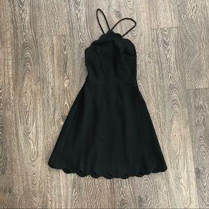 Cute Black Scallop Edge Strappy Sleeveless Dress